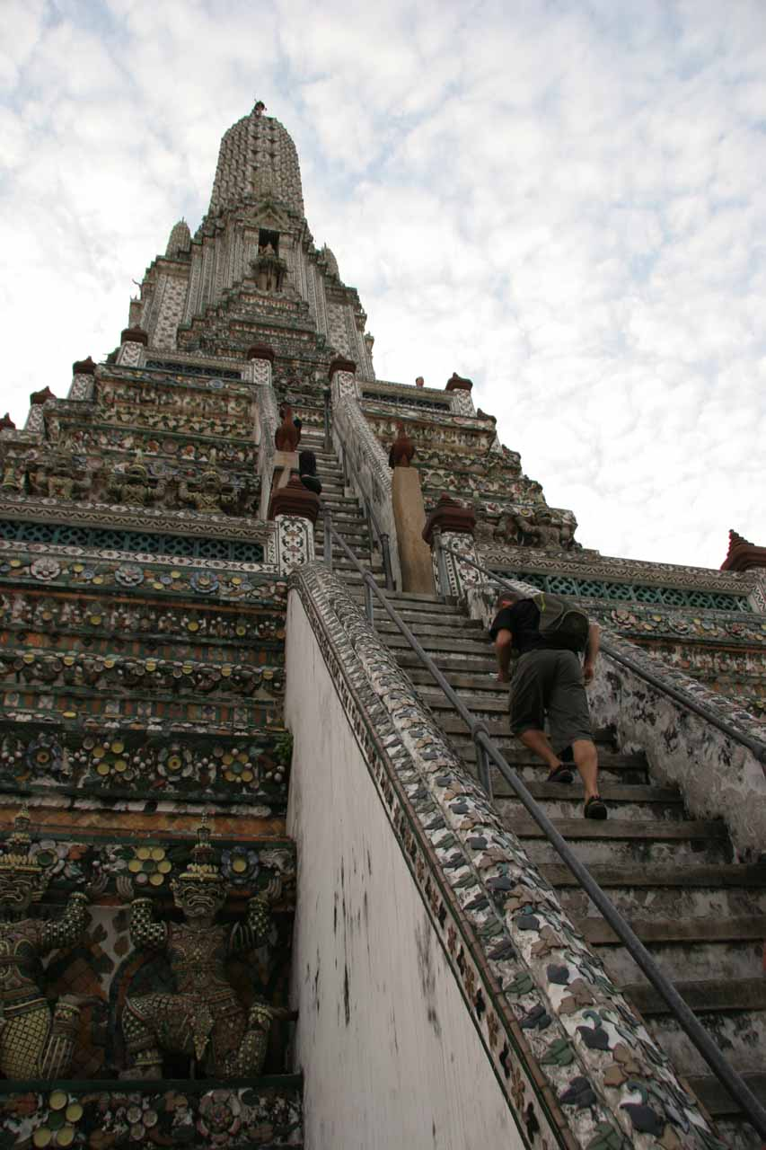 Looking up the steps of Wat Arun
