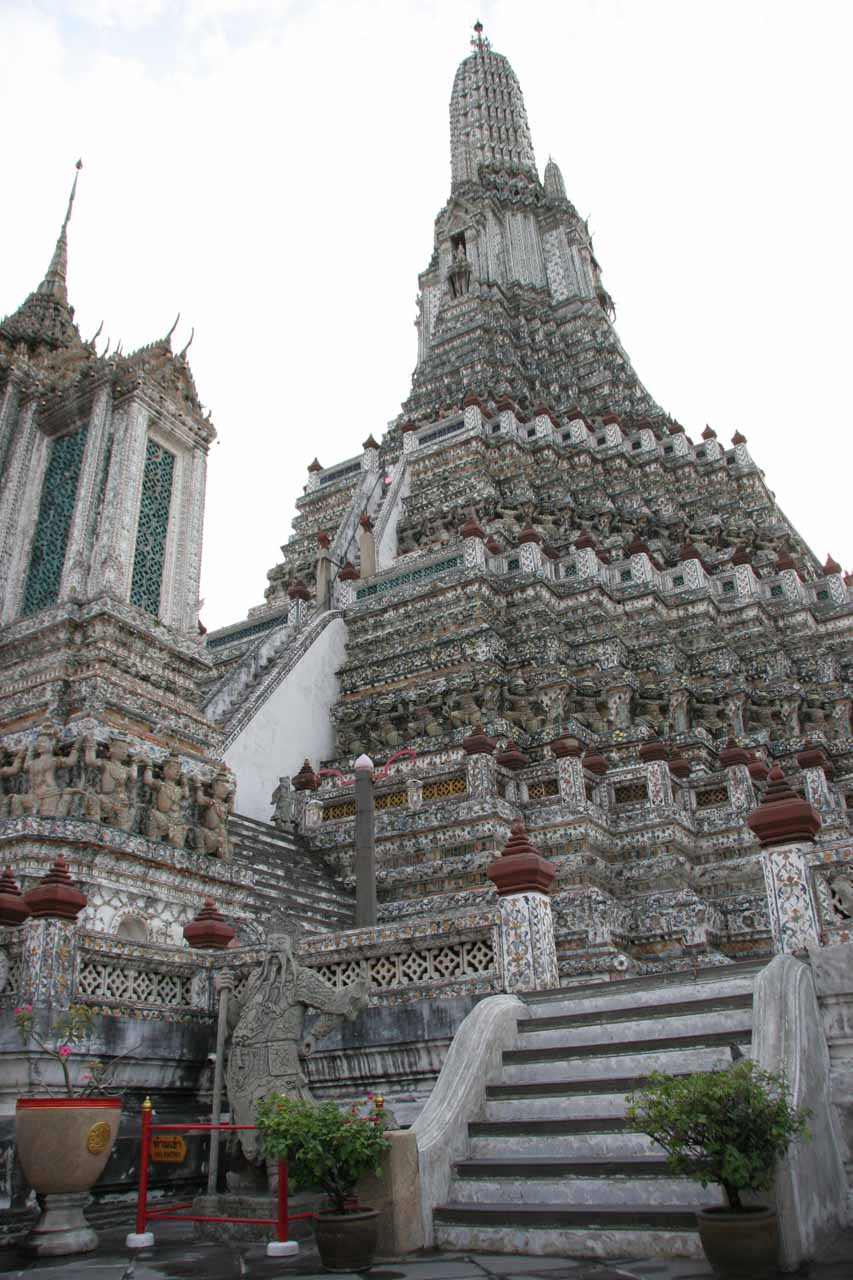 About 3 hours drive southwest of Khao Yai is Bangkok, where temples like Wat Arun featured steep steps like the steps we saw descending to the Haew Narok viewpoint