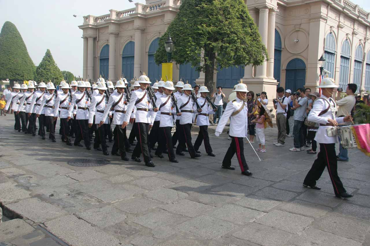 Royal Guards rehearsing as they march into the government quarters