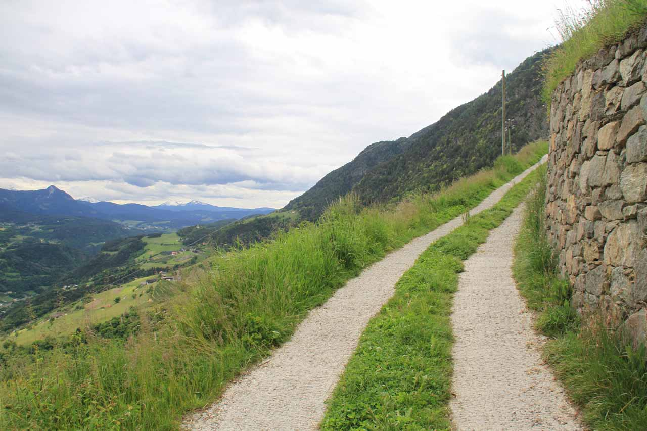 With each step I took on the trail/road, I could see more expansive vistas of the valleys and mountains across Barbiano