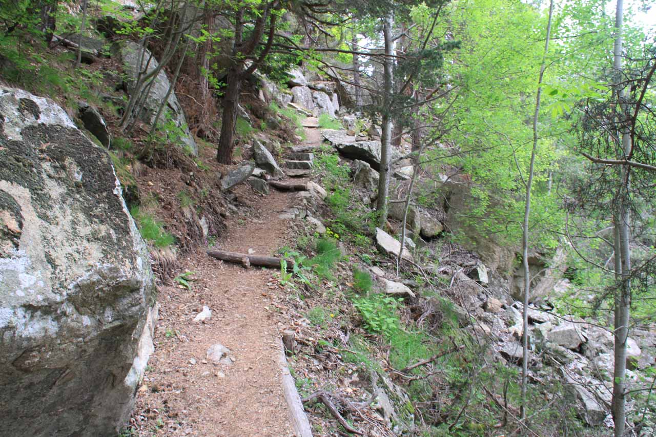 The trail continues to climb after the first waterfall
