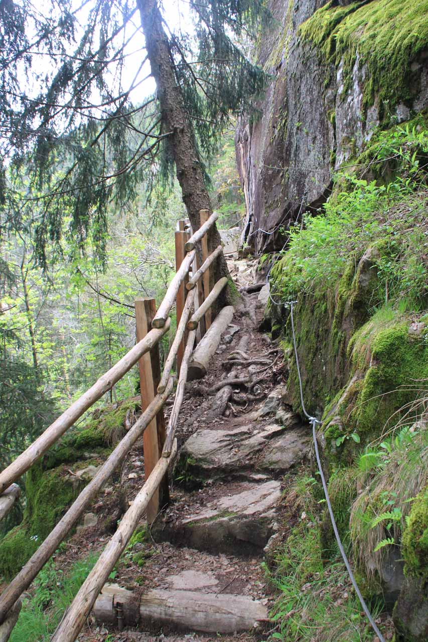 Some parts of the trail were narrow and steep and offered hikers some wires as additional handholds