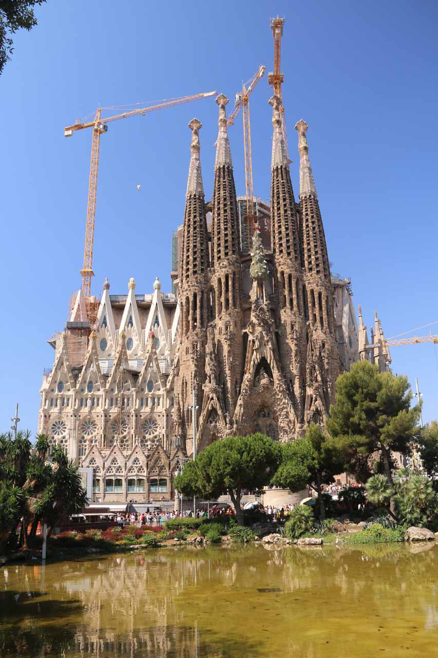 Perhaps the signature attraction of Gaudí and that of the city of Barcelona had to have been the Sagrada Familia Cathedral shown here reflected in a pond on its east side