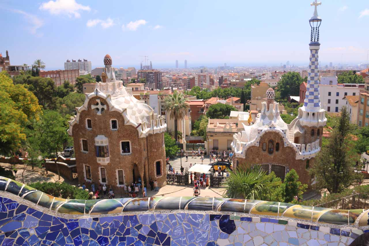 Barcelona was just over an hour's drive from Sant Miquel de Fai. This city featured many examples of Antoni Gaudí's modernisme architecture even in a city park like Park Güell shown here