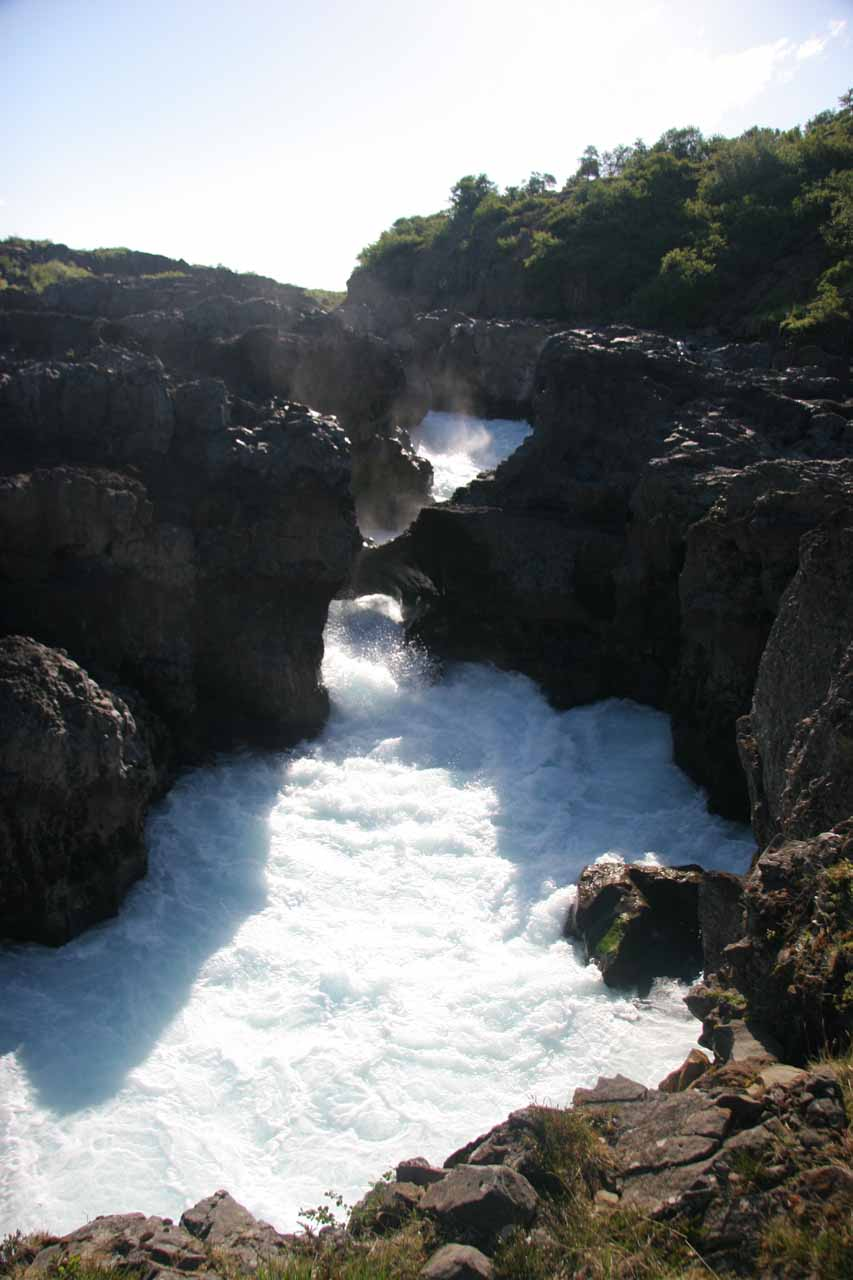 A more direct look at Barnafoss and what appeared to be a natural bridge