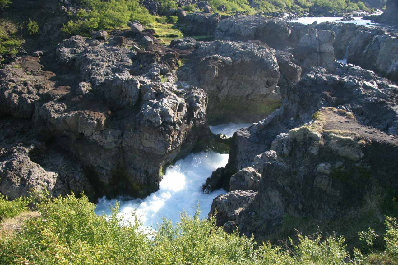 Contextual look at what appeared to be another natural bridge across the rapids of Barnafoss