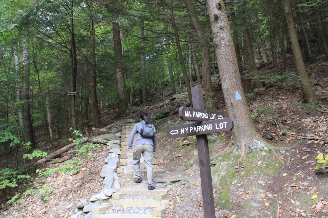 The non-trivial climb back up to the trailhead at the Massachusetts side