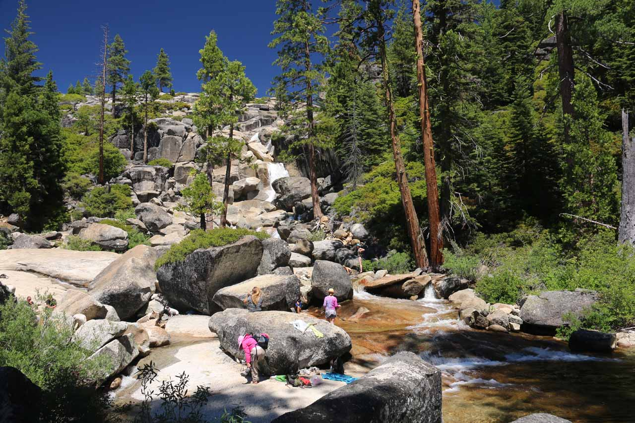 This wide part of Bassi Creek within view of Bassi Falls was where Mom was chilling out and dipping her tired feet into a shallow part of the creek