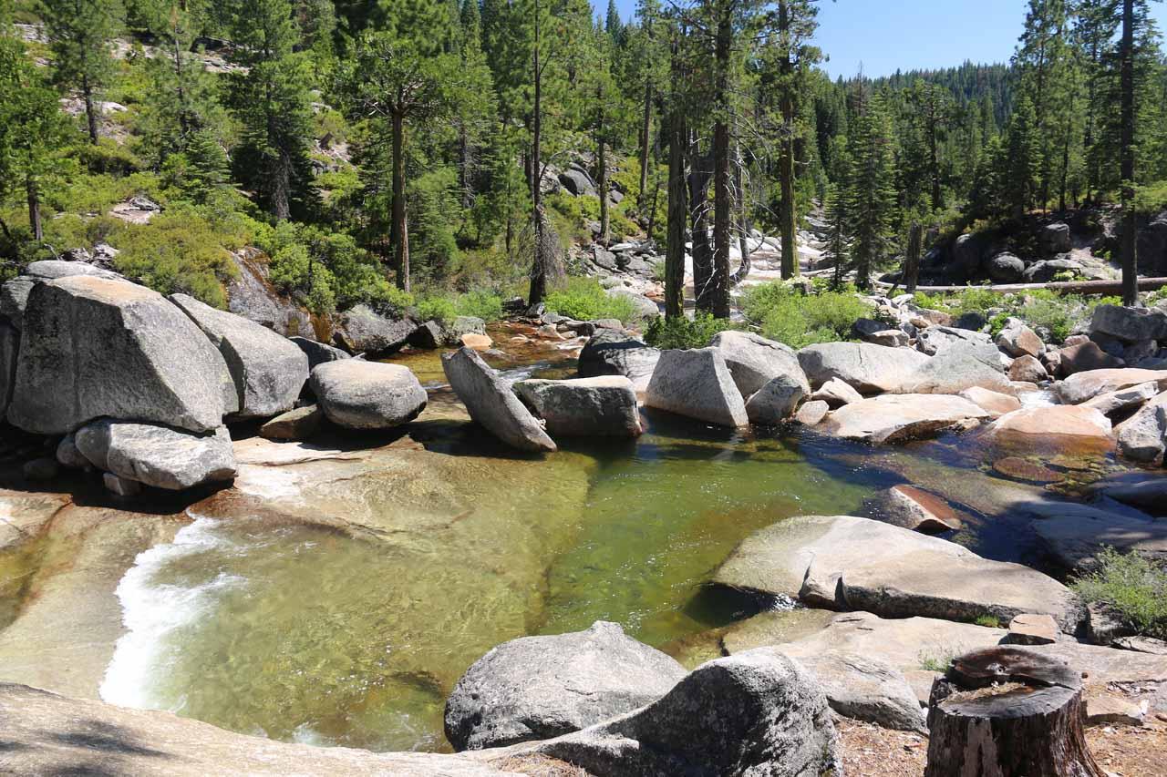 Looking across the calm plunge pool beneath that intermediate waterfall on Bassi Creek