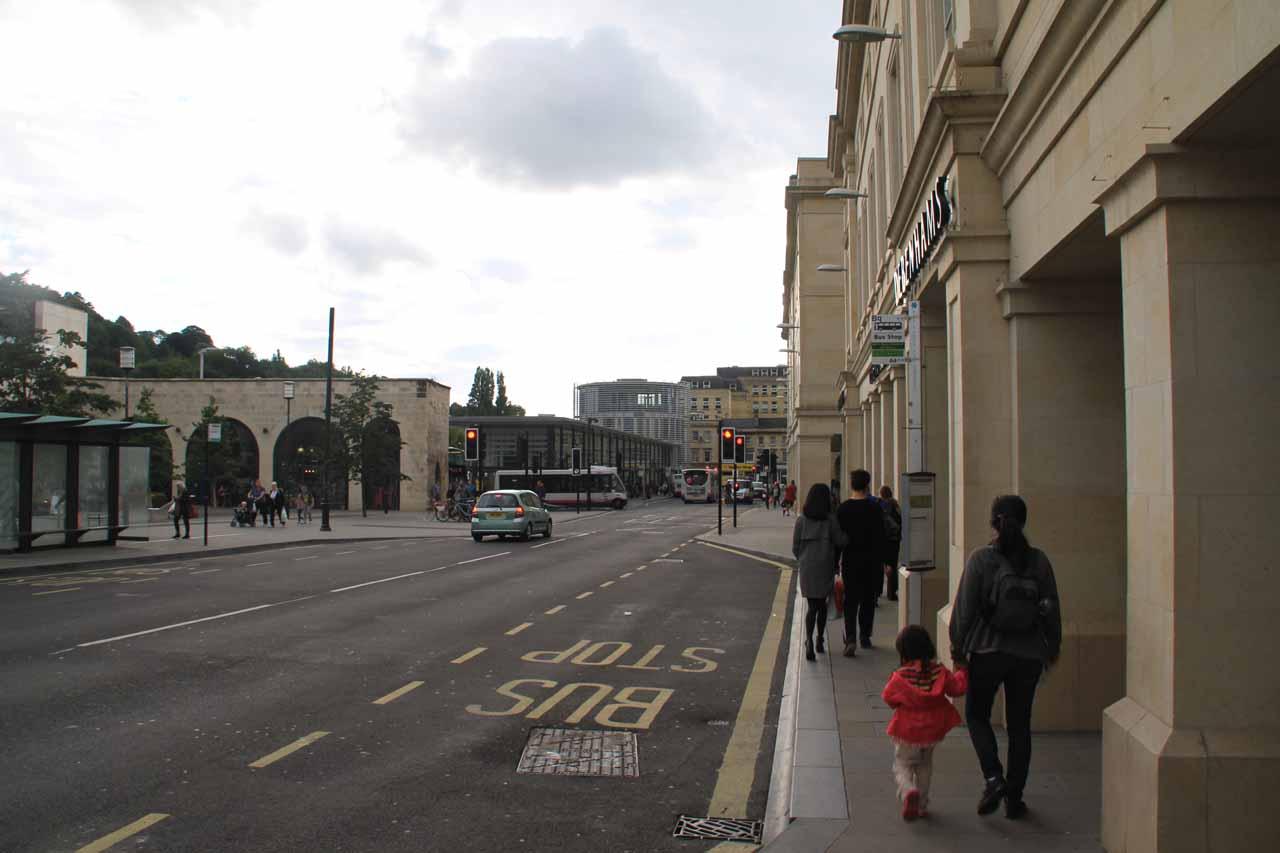 Walking towards dinner in Bath