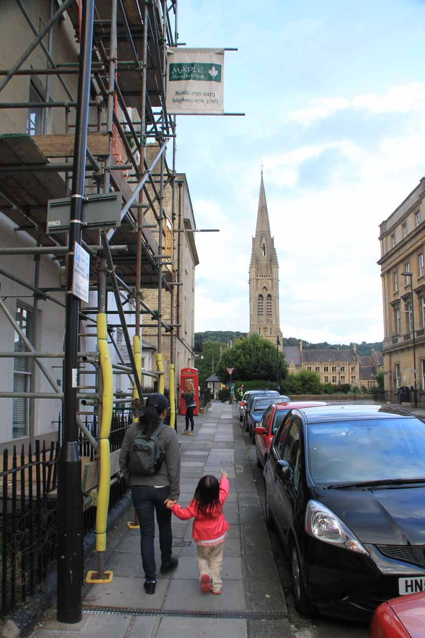Making our way towards the happening parts of Bath Town Centre