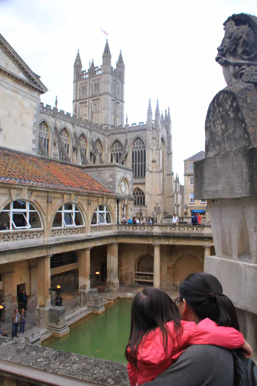 Julie and Tahia checking out the Roman Bath from above
