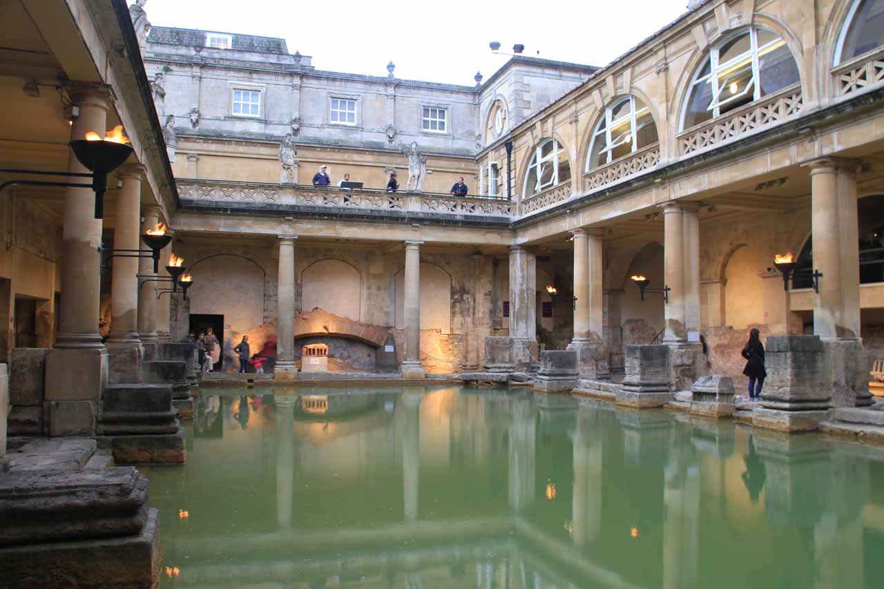 Looking across the Roman Bath from the lower level