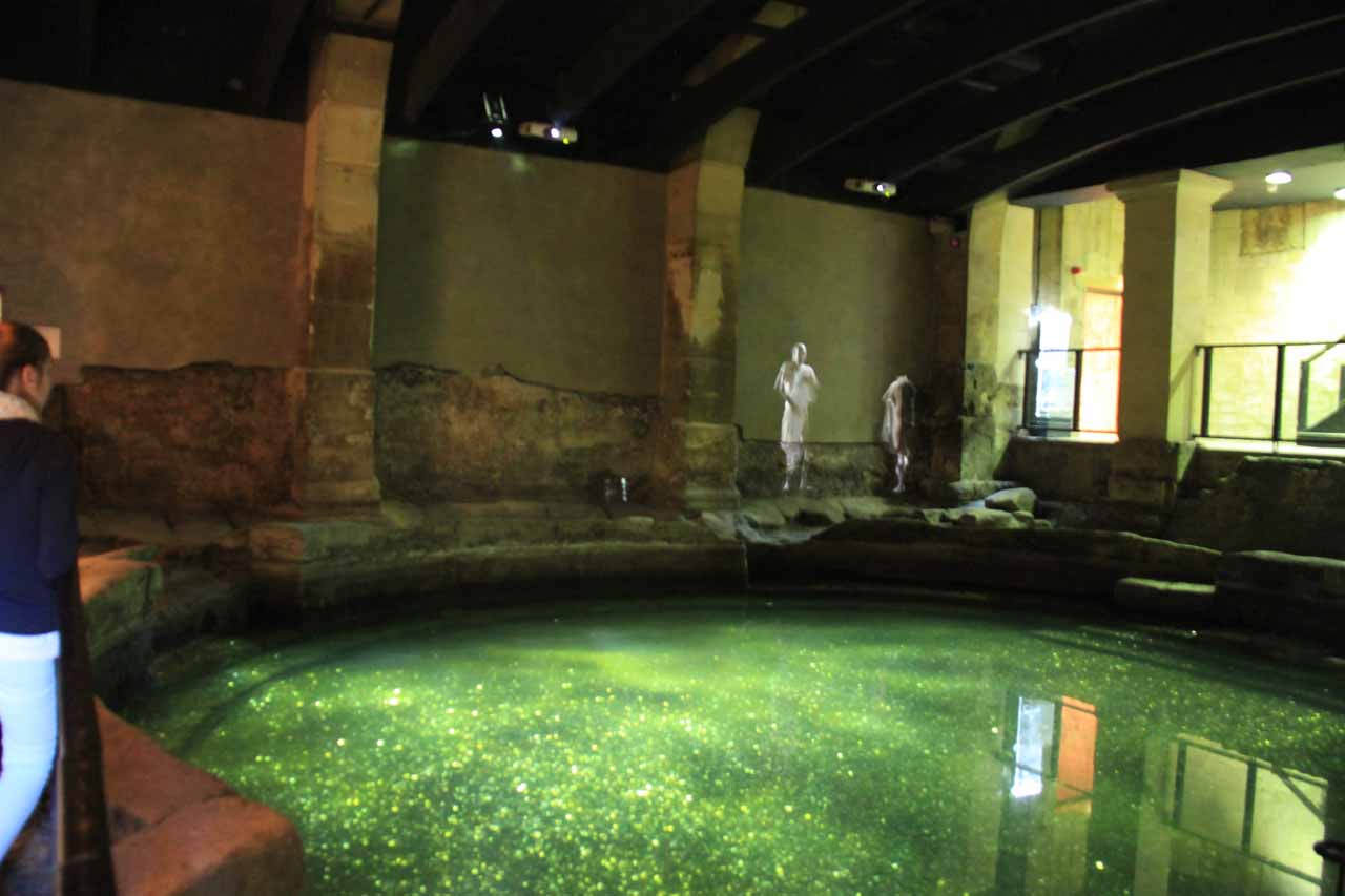 A glowing pool near one of the Roman Ruins sections