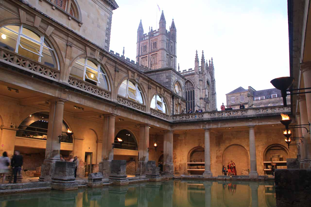 Twilight looking towards Bath Abbey across the Bath Spa