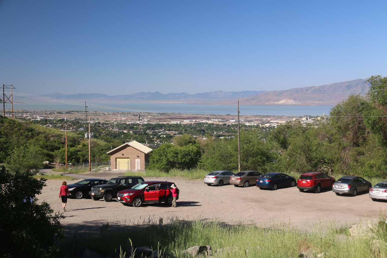 Looking back over the parking area towards Utah Lake