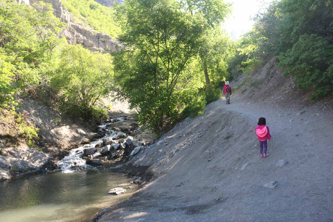 Julie and Tahia on the Battle Creek Trail as it started to climb a bit more steeply after the diversion contraption