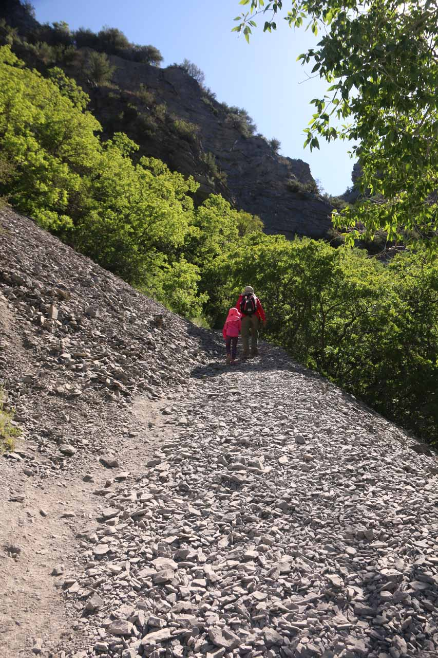 Right after the footbridge, the Battle Creek Trail climbed even more steeply except the terrain was a little trickier as it now involved walking over loose shale