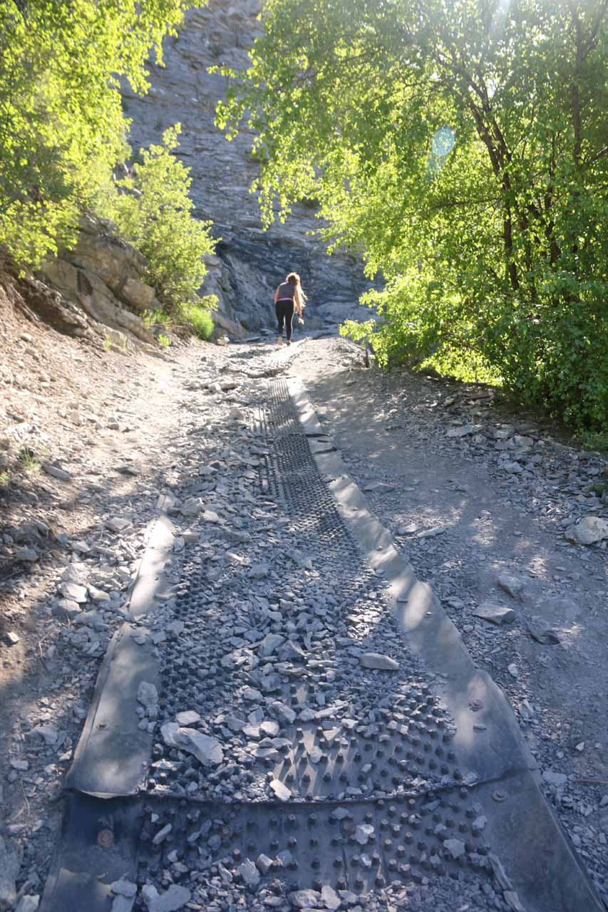 Further up the Battle Creek Trail, this rubber mat was set up to improve traction where the steep trail could have been very slippery due to loose dirt and shale