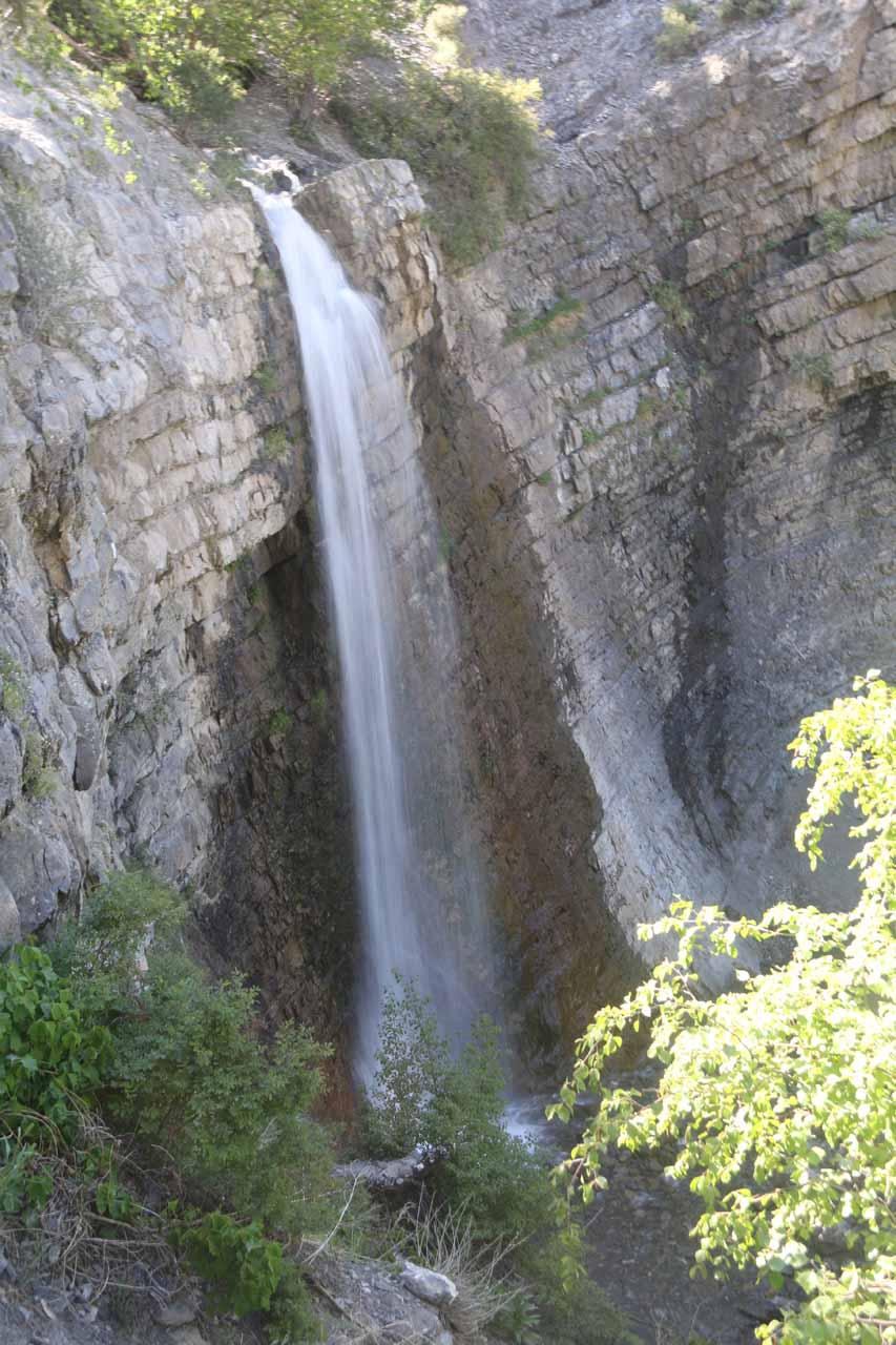Profile view looking down towards the full drop of Battle Creek Falls