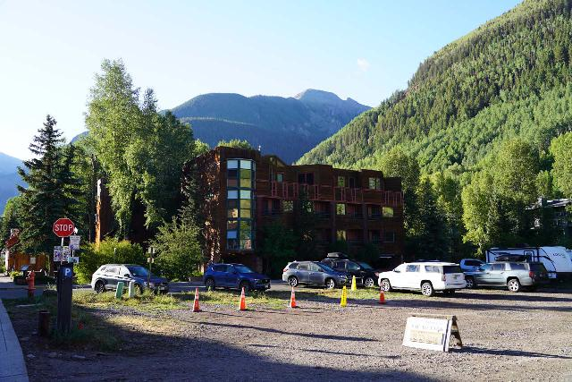 Bear_Creek_Falls_008_07232020 - Looking towards what appeared to be a paid parking lot on the south side of Telluride, which attested to how in-demand that parking was in town