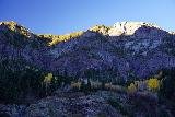 Bear_Creek_Falls_Ouray_060_10162020 - Last look at the top of Uncompahgre Canyon opposite Bear Creek Falls just as the early morning sun's light was growing by the minute