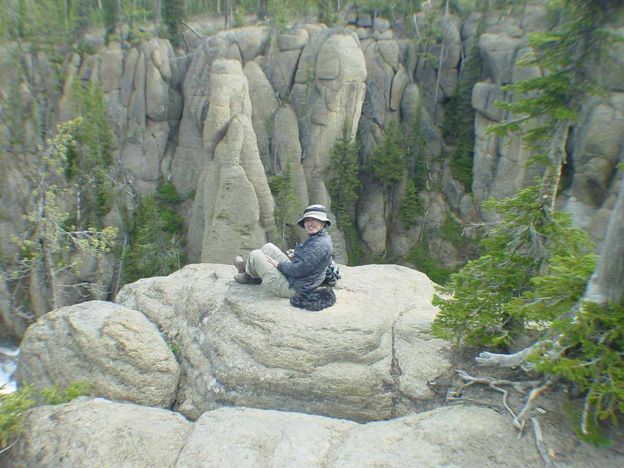Julie on the scary rock above Terraced Falls
