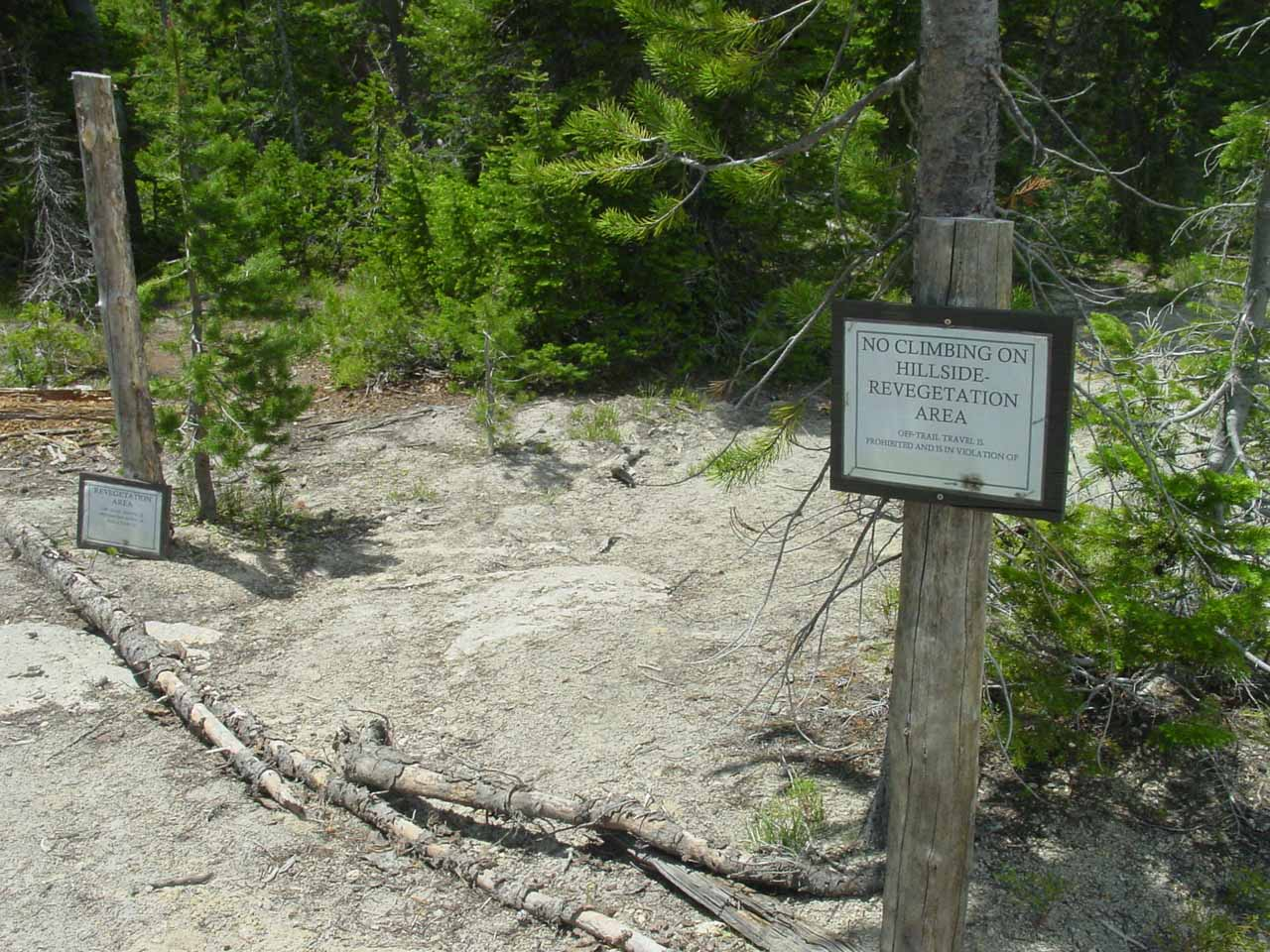 Back during our first visit in June 2004, we saw these signs discouraging further progress