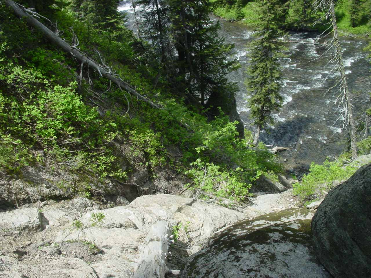 Looking down at the steep scramble to the base of the falls as seen back in June 2004