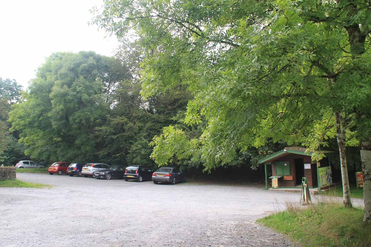 The spacious car park for the Becky Falls Woodland