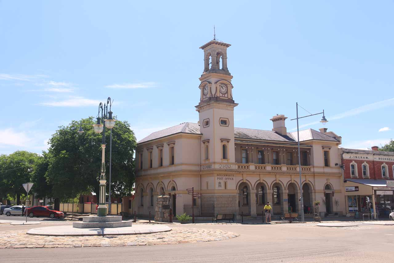 Woolshed Falls was just north of the historic town of Beechworth, shown here looking towards the post office in the centre of town