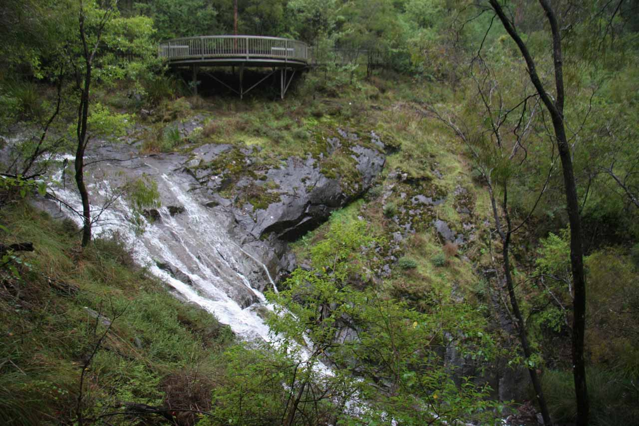 Profile view of Beedelup Falls from the other side of the creek.  Notice the lookout deck that we were just at above it