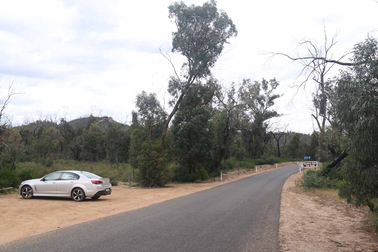 The car park and trailhead for Beehive Falls, which was right off the Roses Gap Road