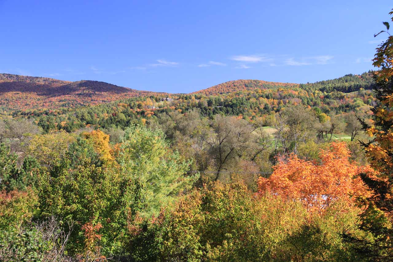 It was an understatement to say we happened to hit this area at the peak of Fall colors.  This lookout was actually at the Ben and Jerry's Factory in Waterbury, which was another stop we made