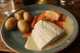 Bergen_033_06262019 - Julie's fish dish served up at Bryggeloftet in Bergen