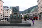 Bergen_342_06262019 - Julie and Tahia walking past the familiar Seafarers' Monument in Bergen