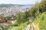 Bergen_533_06272019 - Looking down at the context of Floibanen with the waterfront of Bergen from Mt Floyen