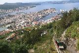 Bergen_586_06272019 - Context of the view from Mt Floyen over Bergen and the Floibanen making its way up the tracks