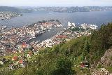 Bergen_612_06272019 - Another contextual look from the Mt Floyen summit with one of the Floibanen funicular trains ascending