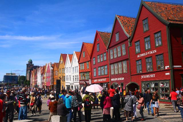 Bergen_732_06282019 - This was the famous Bryggen in Bergen, which as the former center of the Hanseatic League was always busy due to its historic charm filled with narrow alleyways, crooked wooden structures, and relics that were centuries old