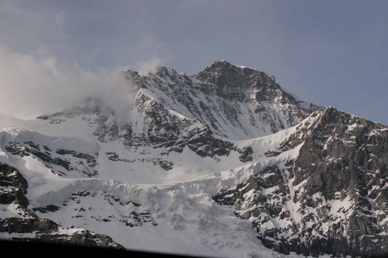 Looking up at either Eiger or Monch while waiting for the train to leave for Jungfraujoch