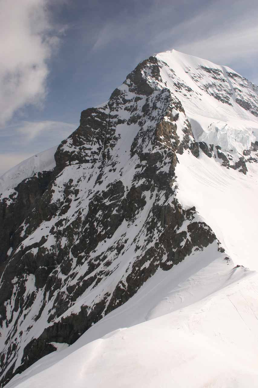 Attractive peak that might be Monch as seen from the frigid Sphinx platform