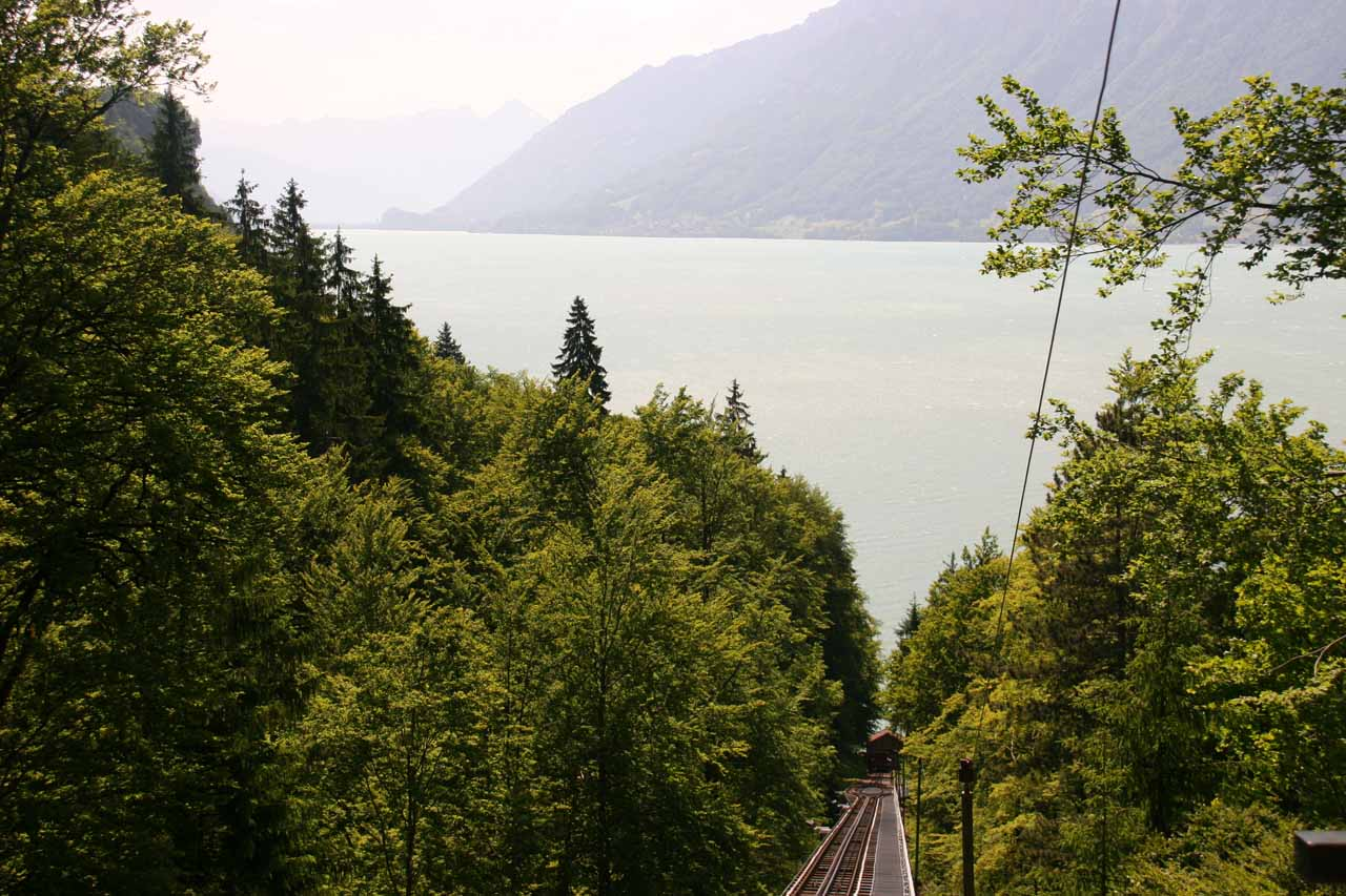 Looking over the funicular tracks back towards Lake Brienz