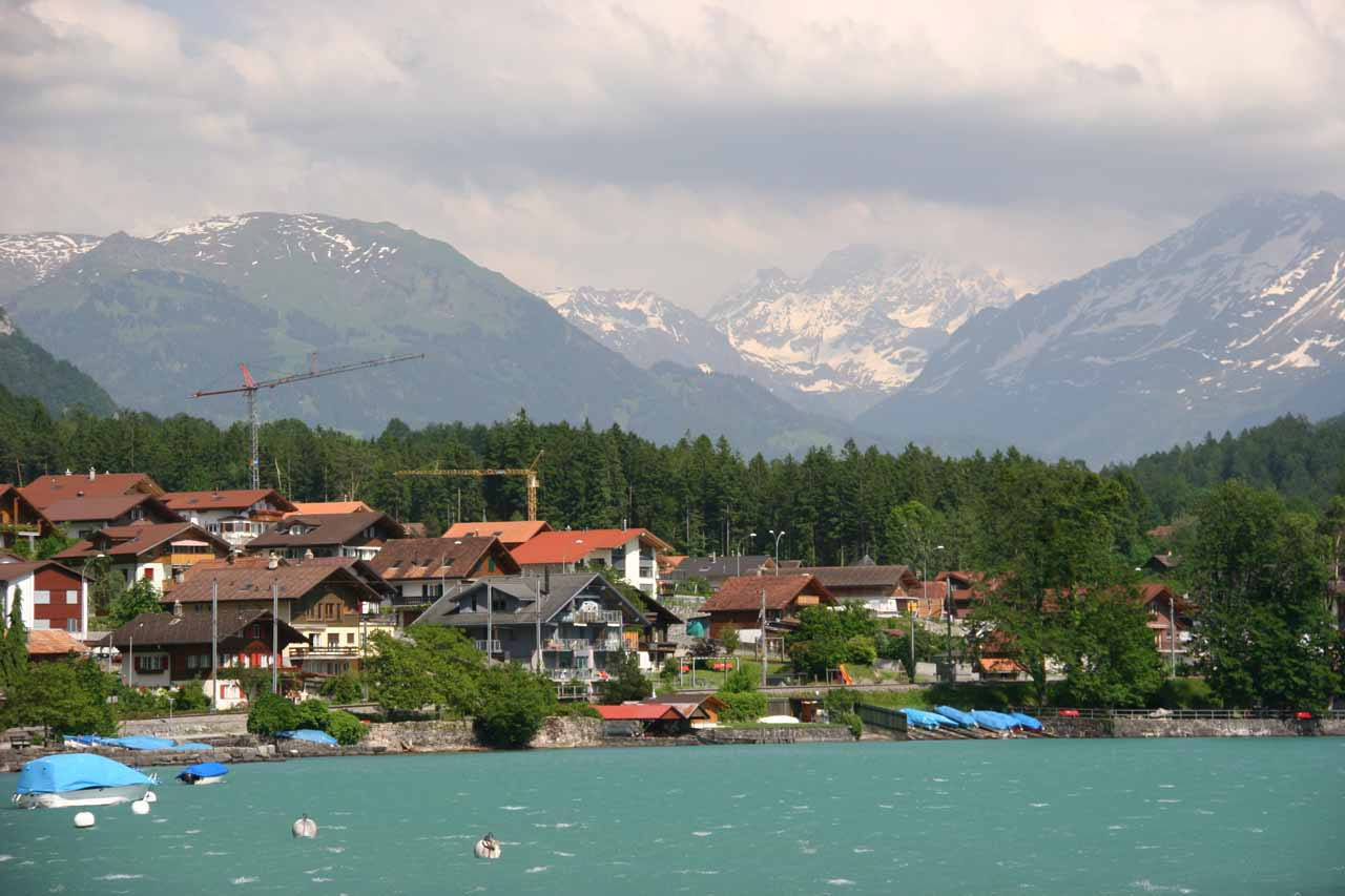 View from the boat dock towards some impressive mountains backing Brienz the town