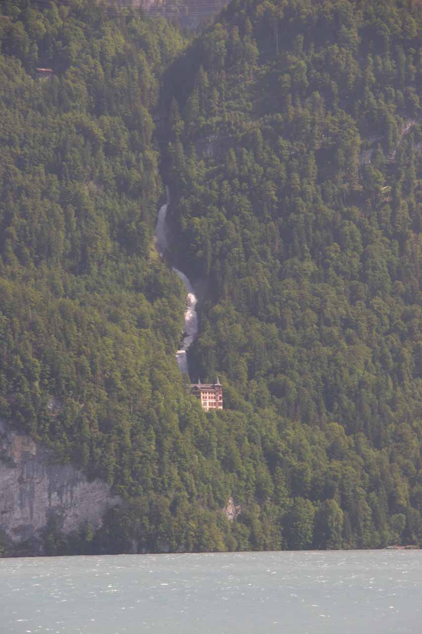 As we were riding the train back to Interlaken Ost, this was the view of Giessbach Falls and the hotel using full zoom