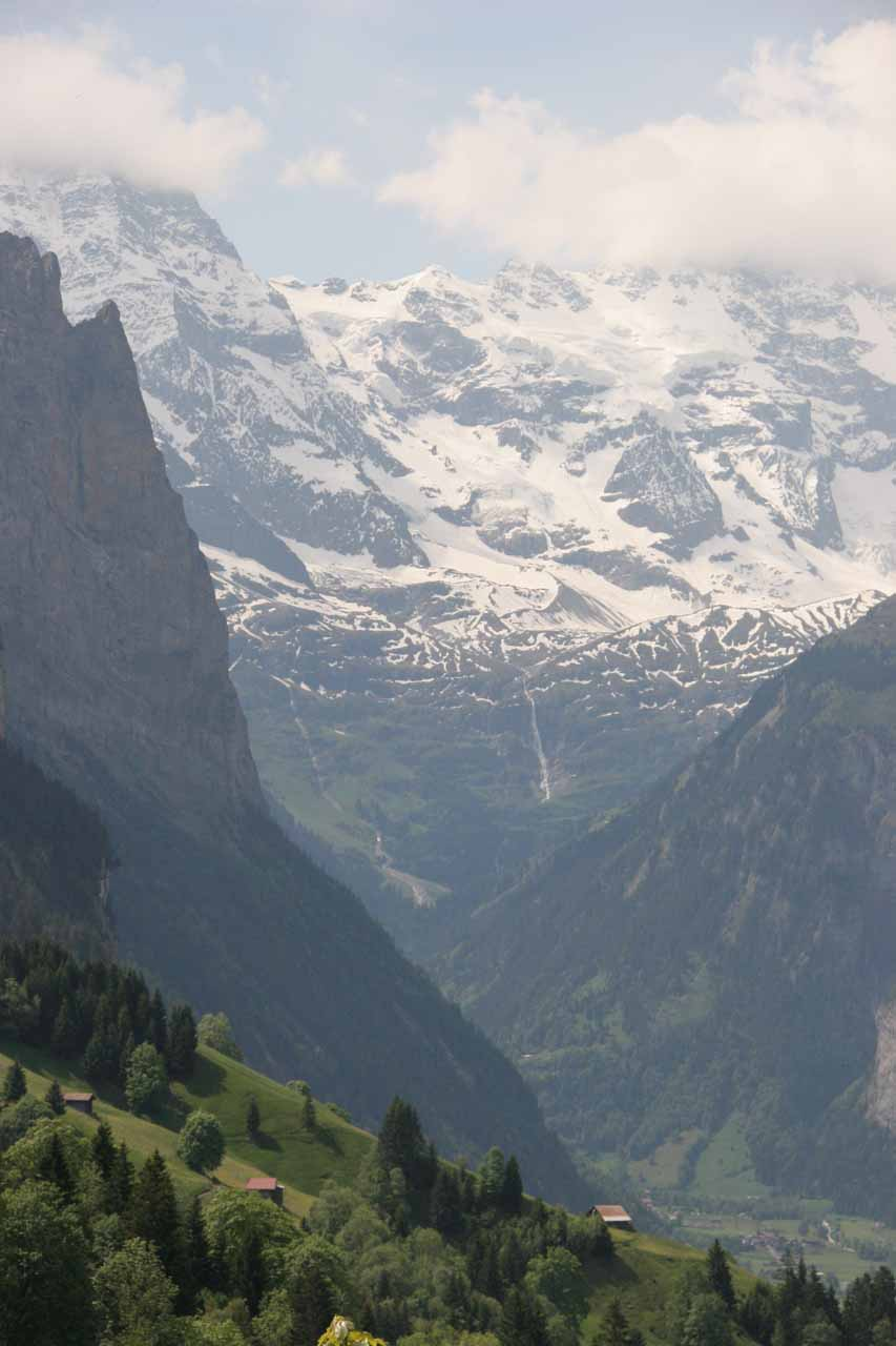 A waterfall way in the distance towards the head of Lauterbrunnen Valley