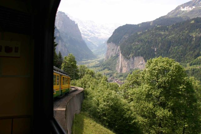 Bernese_Oberland_255_06082010 - Taking the railway from around Wengen into the Lauterbrunnen Valley with Staubbach Falls seen in the distance