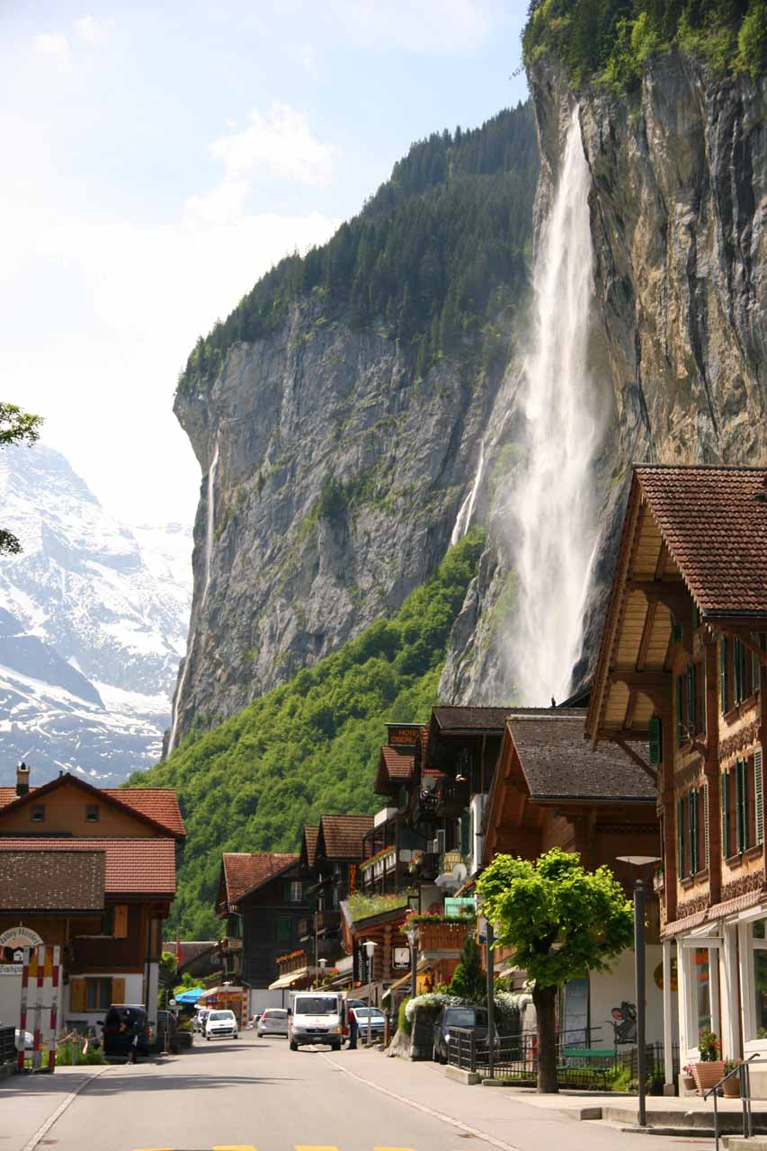 Staubbach Falls and Aegertenbach Falls (the thin waterfall in the left side of this photo) from Lauterbrunnen