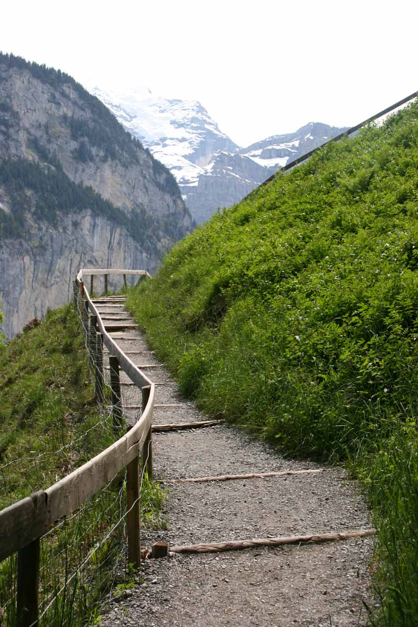 Ascending the steep path to go behind the waterfall