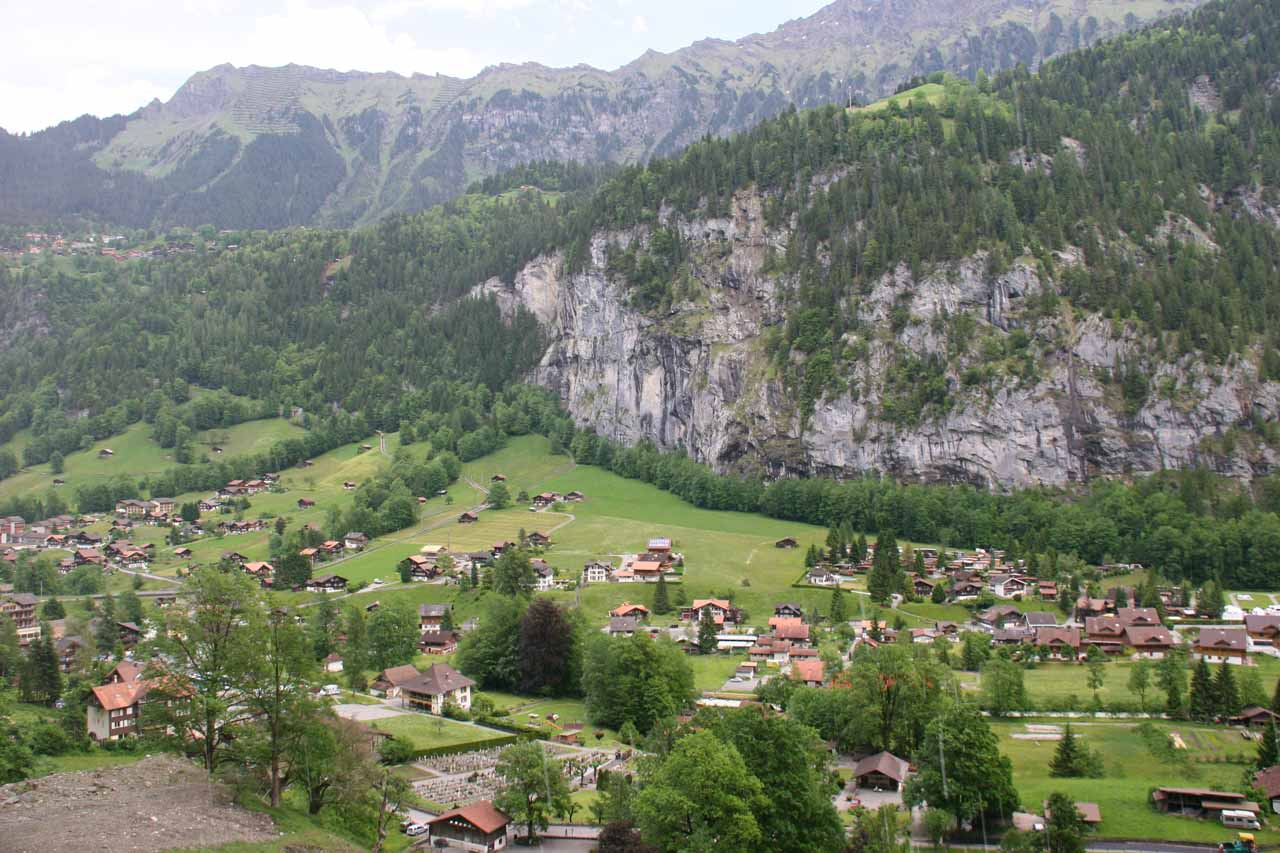 Looking to Lauterbrunnen town from behind the falls
